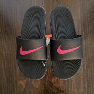Nike black and pink slide sandals